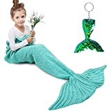 Amyhomie Mermaid Tail Blanket, Little Mermaid Blanket Soft Crochet All Seasons Sleeping Blanket for Kids, Mermaid Gift for Girls(Teal,Kids)
