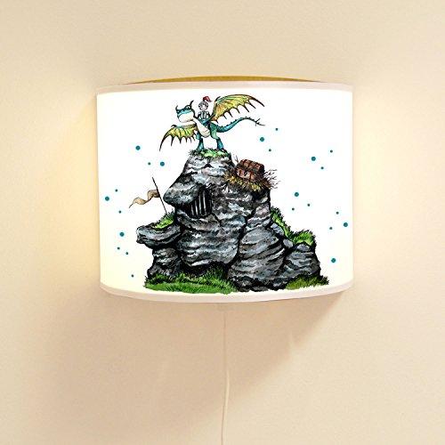ilka parey wandtattoo-welt Lampe Murale pour garçon Lese Lampe à Rappel de Lumiere avec Chevalier & Drache ls80