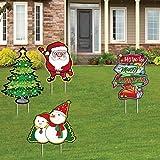 HONGXUNJIE Papa Noel Navidad Exterior Decoración para Césped Navideño Signos de Estaca Merry Christmas Yard Sign árbol de Navidad, Muñeco de Nieve, Poste indicador,Jardín Home Decoraciones (Signos-4)