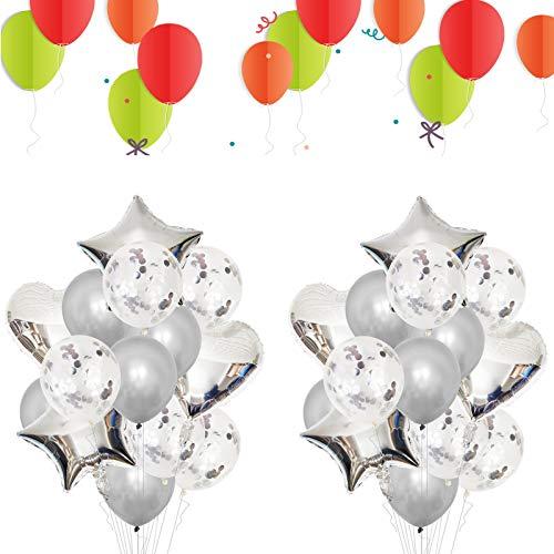 JIASHA Palloncini Decorazioni Festa,48 Palloncini Compleanno,Palloncini coriandoli/Palloncini Elio/Matrimonio Palloncini per Feste, Compleanno, Anniversario, Matrimonio