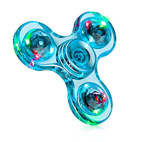 Fidget Spinner, Crystal Fidget Toy Led Light Rainbow Finger Toy Hand Fidget Spinner-Kids for ADHD Anxiety Stress Reducer(Light Blue)