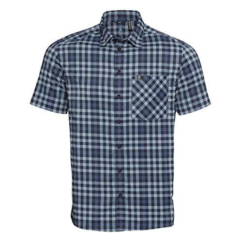 Odlo Nikko T-Shirt à Manches Courtes pour Homme M Denim Faded/Bleu Indigo/Bleu Marine/Carreaux.