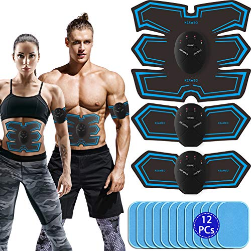 KEAWEO Elettrostimolatore per Addominali Elettrostimolatore Muscolare Professionale EMS Stimolatore Muscolare ABS Trainer Toner per Addome Braccio Vita Gambe Home Gym 12PCS Gel