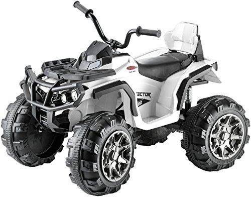 Jamara 460248 - Ride-on Quad Protector weiß 12V – 2 Leistungsstarke 12V Antriebsmotoren und leistungsstarker 12V Akku für lange Fahrzeit, 2-Gang Turboschalter, Ultra-Gripp Gummiringe an Antriebsrädern