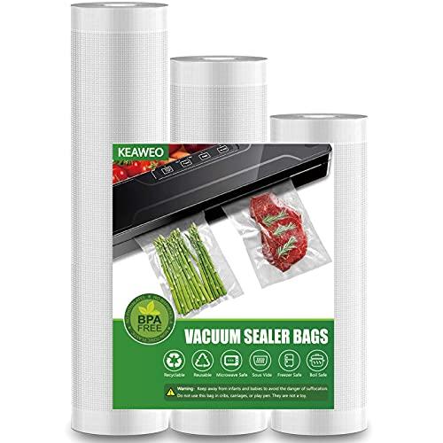 Bolsas de Vacio para Alimentos, KEAWEO 3 Rolls de Varios Tamaños, sin BPA, Bolsas de Vacio Gofradas para Conservación de Alimentos y Sous Vide Cocina & Boilable 28x400cm/25x400cm/20x400cm