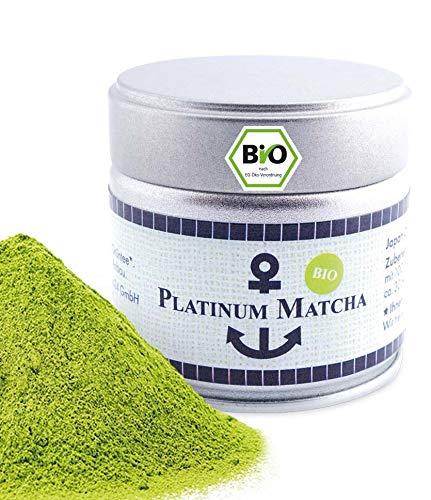 Platinum Bio Matcha aus Japan, Ceremonial Grade, Pestizidfrei, Tee Pulver extrafein 30 g Dose, mild intensive Grünteenote, geeignet für Matcha Latte, Smoothie, Zeremonielle Qualität, Grüntee