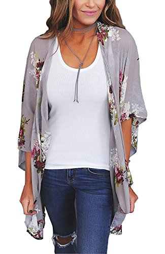 PRETTODAY Women Floral Kimono Loose Half Sleeve Shawl Chiffon Casual Cardigan