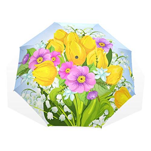 Jeansame Hallo Lente Bloemen Tulpen Vouwen Compacte Paraplu Zon Regen Handmatige Paraplu's voor Vrouwen Mannen Kid Jongen Meisje