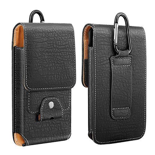 MoKo Handy Gürteltasche, PU Leder Handytasche Gürtelschlaufe Karabiner Kompatibel mit iPhone 13 mini/13/13 pro/iPhone 12/12 mini/12 Pro/SE 2020/11 Pro/11/11 Pro Max/Xs Max/XR/Xs/X,Galaxy Note 10/S10e