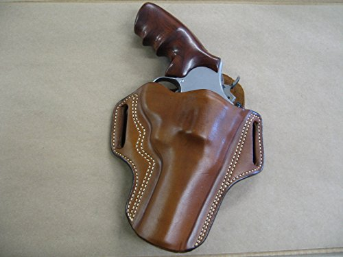 """Leather 2 Slot Molded Pancake Belt Holster for Smith & Wesson S&W N Frame 4"""" Revolver CCW TAN RH"""