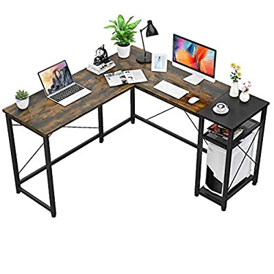 Foxemart L-Shaped Computer Desk, Industrial Corner Desk 55.2'' Writing Study Table with Storage Shelves, Space-Saving, Large Gaming Desk 2 Person Table for Home Office Workstation, Rustic Brown/Black