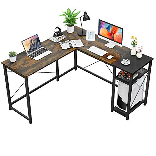 Foxemart L-Shaped Industrial Computer Desk with PC Shelf - $109.99 Shipped