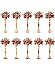 Nuptio Blomma Vaser för Bord, Blommig Metall Trumpet Vas, Bröllop Centerpieces Vas för Julfest Dekor, 55cm Lång Konstgjorda Blomsterarrangemang för Jubileum Ceremoni Vardagsrum