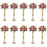 Nuptio 10 Pcs Gold Vase for Wedding Centerpieces, Metal Flower Trumpet Vase with Crystal Bead, 21.65'/ 55cm Tall Flower Vases for Table Anniversary Party Birthday Event Aisle Home Decoration