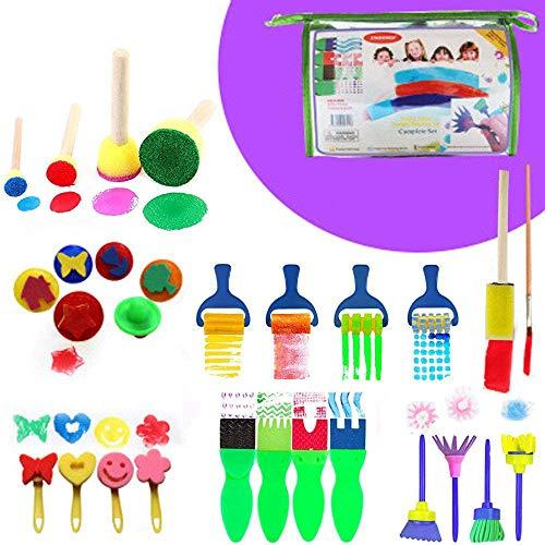 Harxin 30 Piezas Niños Cepillos de Pintura de Esponja Herramientas de Dibujo para Niños Pintura Temprana Artes DIY Artesanías (30 Piezas)