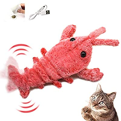 Syvvy Catnip Toys for Cats, Plush Lobster Cat Toys for Indoor Cats, Realistic Flopping Fish Cat Toy, USB Interactive Cat Toys with 3 Modes for Cat Biting, Chewing and Kicking