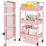 Dripex Rollwagen Küchewagen Metall Roll Regal Aufbewahrungswagen faltbar,mobiler für Küche Bad Büro mit Rollen 3 Etagen Rosa
