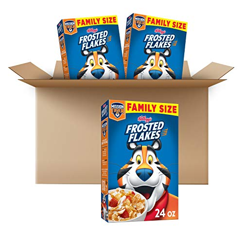 Kellogg's Frosted Flakes Breakfast Cereal, Original, Excellent Source of 7 Vitamins & Minerals, 24 oz Box (3 Boxes)