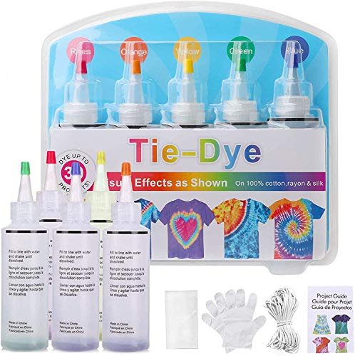 Cudny Tie Dye Kit, 5 Bright Colors for Kids and Adults, All-in-1 Non-Toxic Tye Dye for Kids with Rubber Bands, Gloves, for Craft Arts Gathering Festival Party DIY Handmade Project