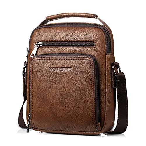 Vohoney Herren-Schultertaschen Umhängetasche Herrentasche Klein Crossbody Bag Handtasche Tasche UmhängenMessenger Bag Handgelenktasche Shoulder Bag(Braun Herren PU Schultertasche)