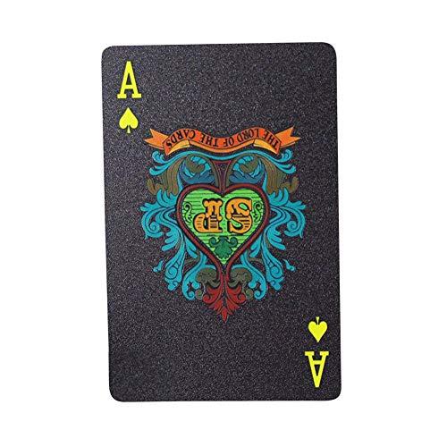 LUCYPAPASHOW Baraja Poker Plastico Negro - Resistente Al Agua Novedad Cartas De Poker Profesional