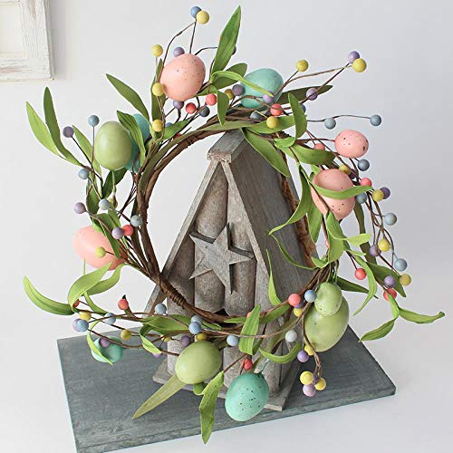 Easter Egg Door Wreath Spring Pastel Mix Pip Berry Front Door Wreath Candle Ring Farmhouse Primitive Home Decor