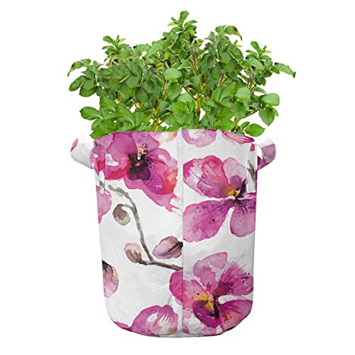 ABAKUHAUS Waterverf Groeizakken, Orchids Feng Shui, set van 5 Zwaar Uitgevoerde Zak van Textiel voor Planten, met Handgrepen, 19 liter, Pale Orange Fuchsia