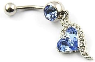SODIAL(R) Anello dell'ombelico 316L Acciaio Chirurgico con Strass Blu Body Piercing