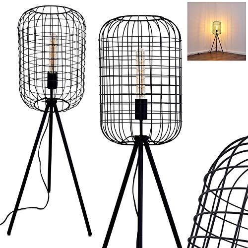 Stehlampe Flambeau, Vintage Stehleuchte m. Lampenschirm in Käfig-Optik aus Metall in Schwarz, E27-Fassung, max. 60 Watt, Leuchte im Retro-Design m. Gitter u. Fußschalter am Kabel, LED geeignet