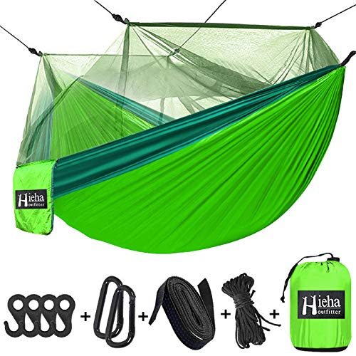 Hieha Travel Camping Hammock with Mosquito Net, Portable Double/Single Tree Hammocks with Bug Insect Netting, Lightweight Nylon Parachute Hammocks for Outdoor Camping, Backpacking, Hiking, Backyard