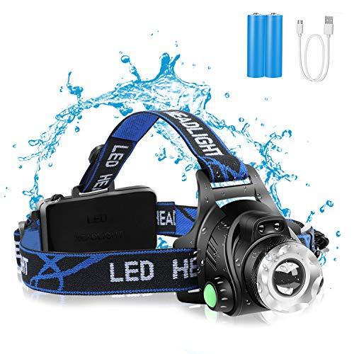 HUNLEE Stirnlampe Led Wiederaufladbar, Kopflampe mit Geste Sensor Funktion, Wasserdicht USB Headlight mit Hinten Warnlicht für Radfahren, Joggen [Energieklasse A++]