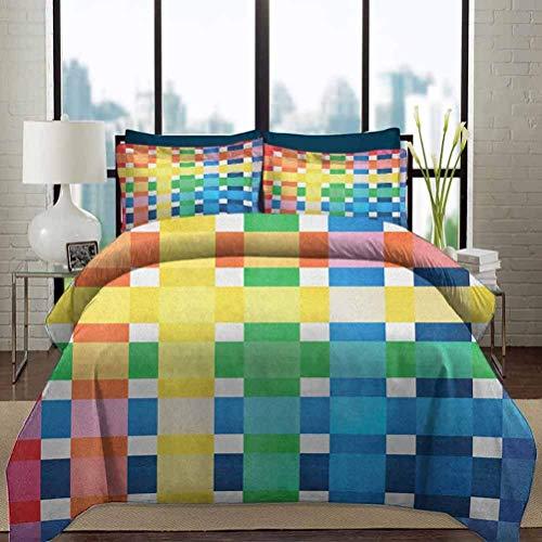 Juego de funda nórdica de ropa de cama Juegos de cama de guardería a cuadros Colores del arco iris Cuadrados grandes y pequeños contiguos en estilo acuarela Juego de cama de 3 piezas decorativas geomé