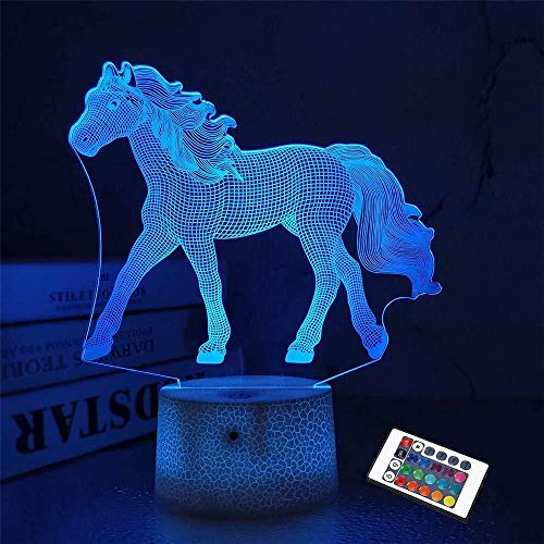 3D ilusión LED lámpara 3D noche luz caballo 16 cambio de color decoración lámpara con control remoto para sala de estar cama bar mejor regalo juguetes
