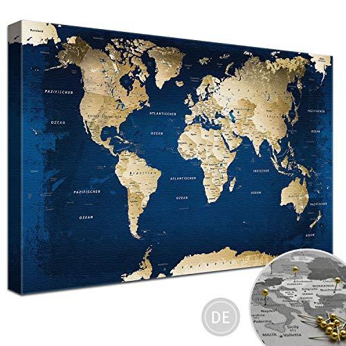 """LANA KK – Ausführung – Weltkarte Leinwandbild mit Korkrückwand zum pinnen der Reiseziele – """"Weltkarte Ocean"""" - deutsch - Kunstdruck-Pinnwand auf 4 cm Rahmen in blau, in 100x70cm"""