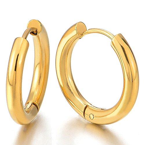 2 Color Oro Llanura Círculo Pendientes del Aro, Huggie Pendientes Hombre Mujer, Acero Inoxidable