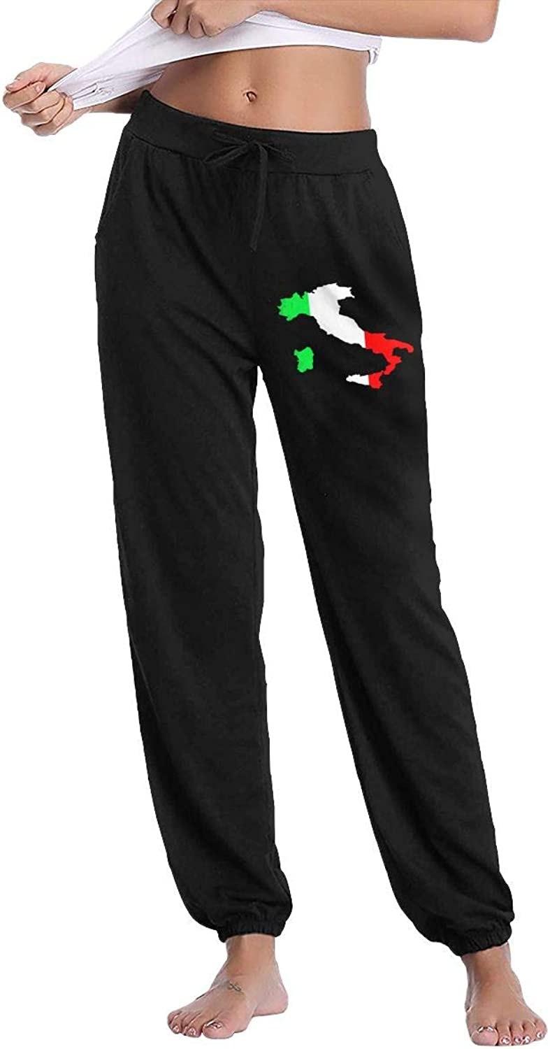 Meamyezz Women's Italian Green White Red Flag Map Gym Workout Track Pants Pockets