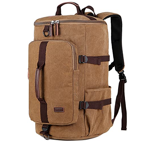 BAOSHA Canvas Weekender Travel Duffel Backpack Hybrid Hiking Rucksack Laptop Backpack for Outdoor Sports Gym HB-26(Coffee)