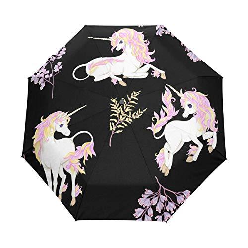 Suzanne Betty Regenschirm, automatisches Öffnen und Schließen, Einhorn, Fantsatic Pflanzen, Glitzer, winddicht, kompakt, faltbar