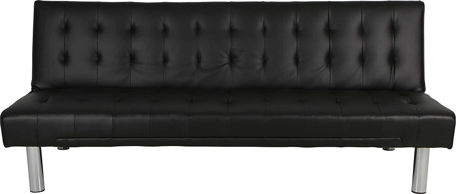 Modern Jeda 3 Seater Sofa Bed Adjustable Couch Lounge in Black PU Leather