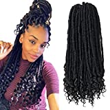 6 Pack/Lot Faux Locs Crochet Hair for Women 20 Inch Straight Goddess Locs Crochet Braiding Hair With Curly Ends Soft Synthetic Braiding Hair Extension (1B#)