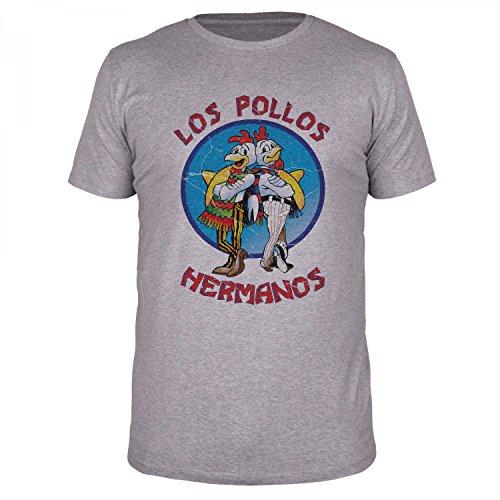 FABTEE - Camiseta para hombre Los Pollos Hermanos | con pegatinas gratuitas | hasta la talla 4XL como regalo para Navidad, cumpleaños o simplemente porque sí. gris XXXL