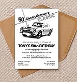 Lot de 10 cartes d'invitation d'anniversaire personnalisées en forme de voiture classique avec enveloppes