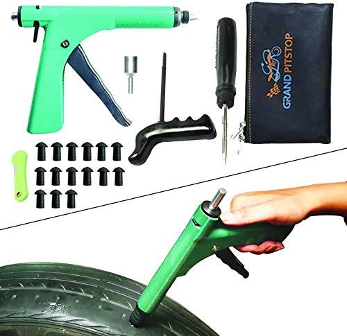 GRAND PITSTOP Reparaturset für schlauchlose Reifen für Motorrad, Auto mit Pilzstopfen (15 Pilzstopfen) (Pistolenkit)