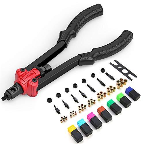 Rivet Nut Tool, Meterk Professional Hand Rod Rivet Gun Setter Kit with 7Metric & SAE Mandrels and 35pcs Rivnuts, Labor-Saving Design, Rugged Carrying Case