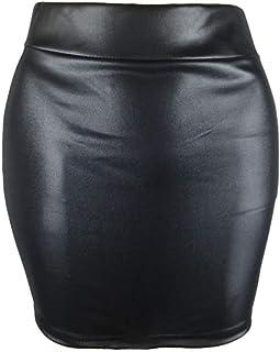 Beau Cuir Synthétique Mini Jupe Taille 34 XS en CUIR-IMITATION noir stretch cache-cœur