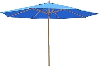 Yescom 13ft XL Outdoor Patio Umbrella w/German Beech Wood Pole Beach Yard Garden Wedding Cafe Garden (Blue)