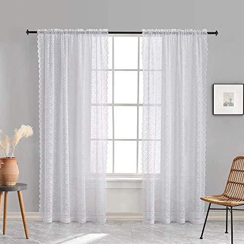 白色蕾丝窗帘84英寸长葡萄酒纯粹花卉窗帘为客厅杆袋52 w x 84寸寸,白色