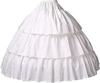 Girls Petticoat 100% Cotton Crinoline Underskirt for Kids Flower Dress Slips 3 4 Hoops Light Ivory
