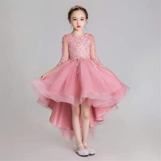 Luxury Former Princess Dress Girl Pompon Yarn Jade Pink Bouquet Beaded Long and Short Paragraph Dress Flower Girl Little Girl Show Host Costumes Western Style Piano ryq