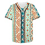 InterestPrint Men's Tribal Ethnic Casual Short Sleeve Baseball Shirt Jersey Shirts M